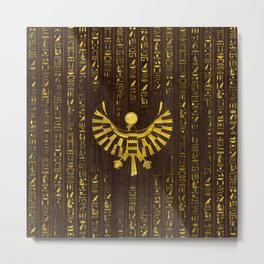 Golden Egyptian Horus Falcon and hieroglyphics on wood Metal Print