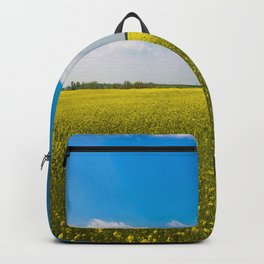 Drifting Days - Blissful Spring Day of Blue Skies and Yellow Canola Fields Backpack