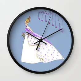 The Bouffant Bride in White with Satin Bows Wall Clock