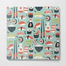 Sushi Dreams – Mint Metal Print