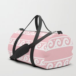 Pink and white Greek wave ornament pattern Duffle Bag