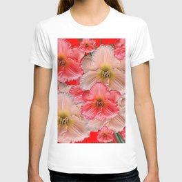 MODERN RED  PINK & CREAM DAYLILIES GARDEN PATTERNS T-shirt