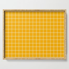 Chinese yellow - orange color - White Lines Grid Pattern Serving Tray