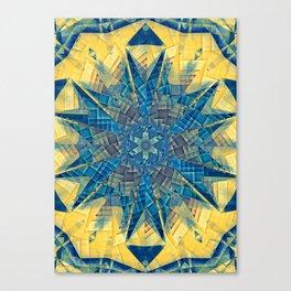 mandala -mosaic blue and yellow Canvas Print