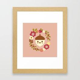 Acorn and Flowers / Blush Pink Framed Art Print