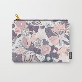 Whimsical Pastel Pink and Purple Floral Carry-All Pouch