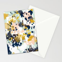 Sloane - Abstract painting in modern fresh colors navy, mint, blush, cream, white, and gold Stationery Cards