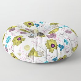 Snow large floral on white Floor Pillow