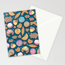 Mexican Sweet Bakery Frenzy // turquoise background // pastel colors pan dulce Stationery Cards