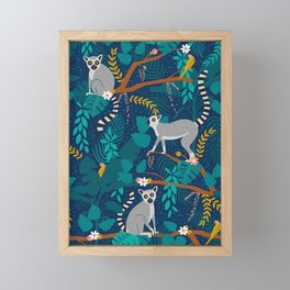 Lemurs on Blue Framed Mini Art Print