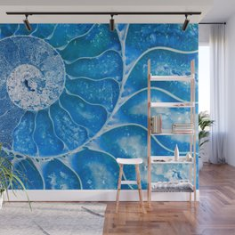 Blue colored Ammonite fossil Wall Mural