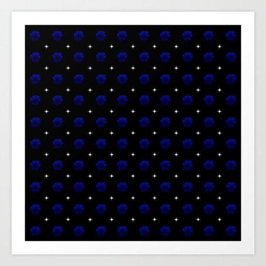 White stars dark blue flowers grid by stephobrien