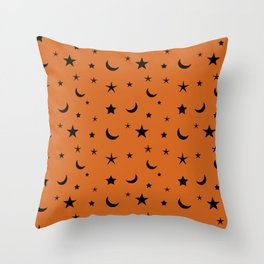 Black moon and star pattern on orange background Throw Pillow
