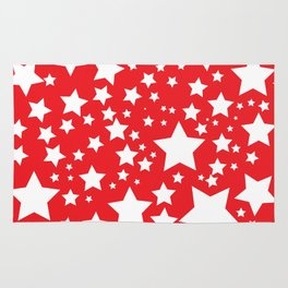 Red with white stars Rug