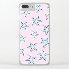 Blue White Starfish With Light Pink Clear iPhone Case
