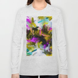 pink yellow blue black abstract painting background Long Sleeve T-shirt