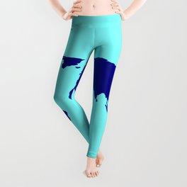 World Silhouette In Blue Leggings