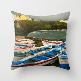 Portuguese harbour Throw Pillow