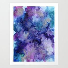 Abstract Watercolor, Ink Prints, Indigo, Blue, Purple Art Print