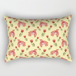 Pretty cute little wild canary birds, red blooming garden tulips, nature flowers bright sunny yellow pattern. Hello spring. Gifts for tulip lovers. Botanical floral artistic design. Rectangular Pillow