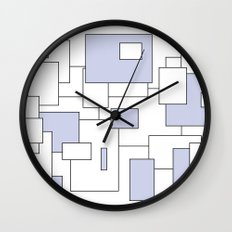 Squares - blue and white. Wall Clock