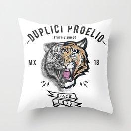DUPLICI PROELIO Tiger by leo Tezcucano Throw Pillow
