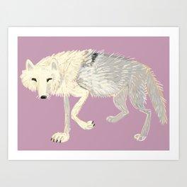 Arctic Wolf  lilac totem Art Print