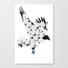 Gothic Raven & Roses Tattoo Illustration Canvas Print