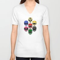 power rangers V-neck T-shirts featuring Mighty Morphin Power Rangers by Some_Designs