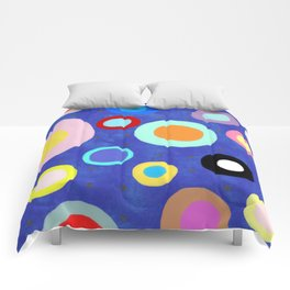 Marine Blue Watercolour Happy Circles Comforters