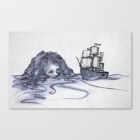 siren Canvas Prints featuring siren by Gerard Russo