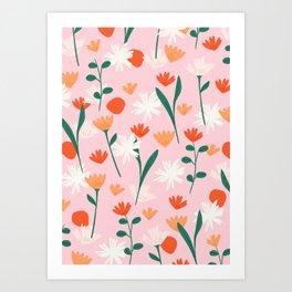 Summertime Floral Pattern Art Print