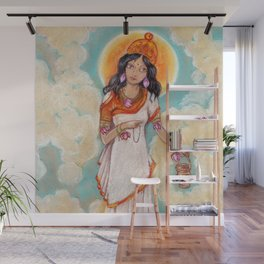 Brahmacharini in a white dress on background of blue sky Wall Mural
