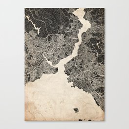 istanbul map ink lines Canvas Print