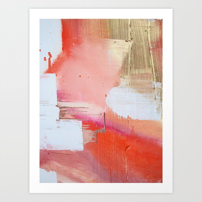 Moving Mountains: a minimal, abstract piece in reds and gold by Alyssa Hamilton Art Art Print