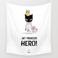 hero Wall Tapestries featuring Girl Hero by Garatujas