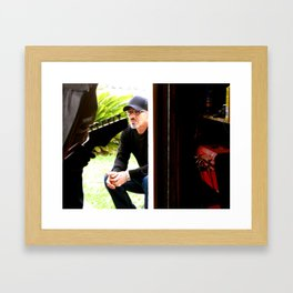 Father Listens to music Framed Art Print