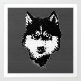 husky dog face grafiti spray art Art Print