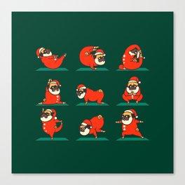 Santa Pug Yoga Canvas Print