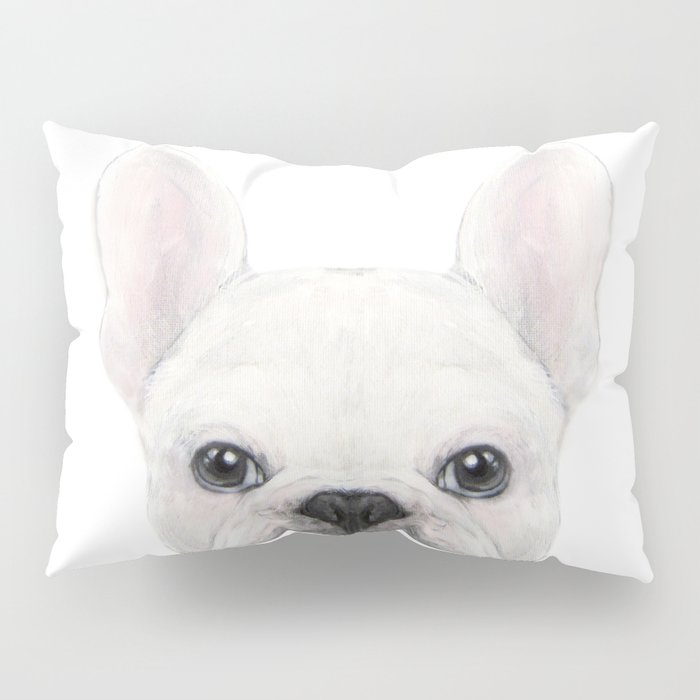 French bulldog white Dog illustration original painting print Pillow Sham