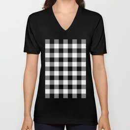 Gingham (Black/White) Unisex V-Neck