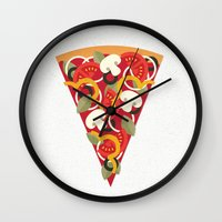 vegetarian Wall Clocks featuring PIZZA POWER - VEGO VERSION by Daisy Beatrice