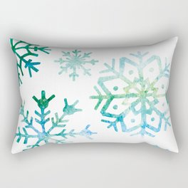 Blue Watercolor Snowflake Rectangular Pillow