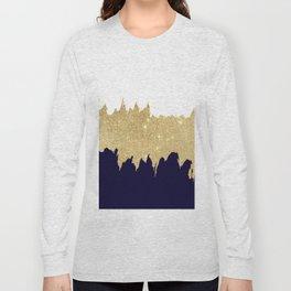 Modern navy blue white faux gold glitter brushstrokes Long Sleeve T-shirt