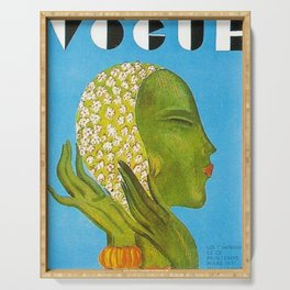 1931 Vintage Art Deco Flapper Young Woman Magazine Cover by Eduardo Garcia Benito Serving Tray