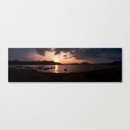 Panoramic of Valle de Bravo's lake. Canvas Print