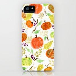 Pumpkin Patch Watercolor iPhone Case