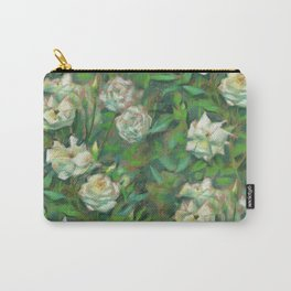 White roses, green leaves Carry-All Pouch
