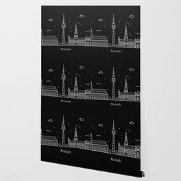 Munich Minimal Nightscape / Skyline Drawing Wallpaper