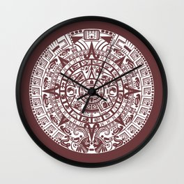 Mayan Calendar // Redwood Wall Clock